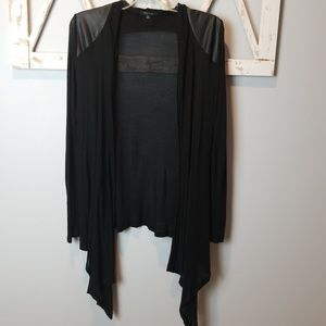 open front black cardigan faux leather aceents Med